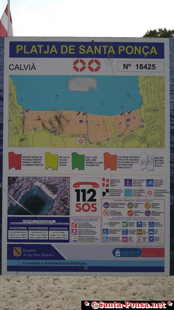 Informationstafel am Strand von Santa Ponsa
